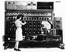 Woman working on a Bombe computing device.