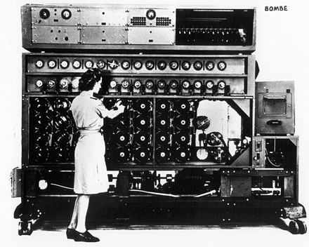 The US Navy Bombe contained 16 four-rotor Enigma-analogues and was much faster than the British three-rotor Bombes. 'bombe'.jpg
