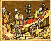 A crowned man sitting on a throne gives orders to two soldiers; a young man and a baby lying on cliffs, and a soldier kneels by each