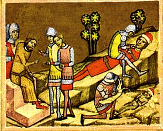 Stephen II of Hungary - Álmos and his son, Béla are blinded on Coloman's order (from the Illuminated Chronicle)