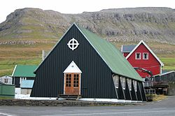 Øravík Church, in Faroese it is called Bønhúsið í Øravík (House of Prayers)