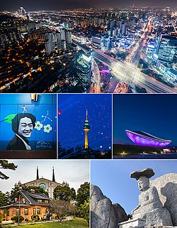 Top: downtown Samdeok-dong, Second: a portrait in Kim Gwangseok Street in Bancheon, Daegu Woobang Tower, ARC cultural center in Gangjeongbon riverside area, Bottom: Daegu Jeli Church and surrounding area, Gatbawi Statue in Gwanamsa Temple