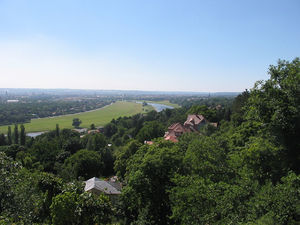 View over the river meadows and Dresden