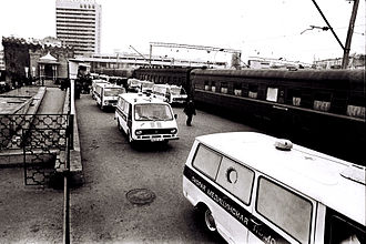 Khojaly Massacre - Ambulance cars carrying dead Azerbaijanis from Khojaly in Baku.