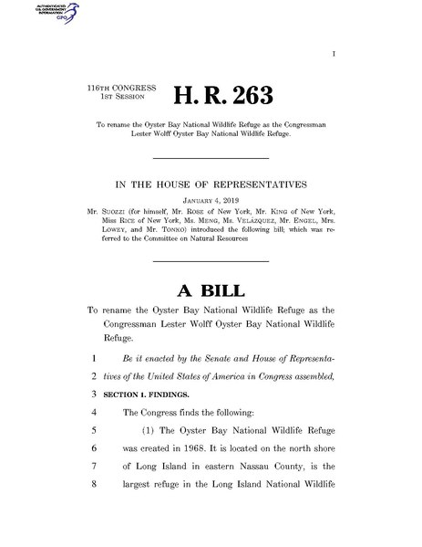File:116th United States Congress H. R. 0000263 (1st session) - To rename the Oyster Bay National Wildlife Refuge as the Congressman Lester Wolff Oyster Bay National Wildlife Refuge.pdf