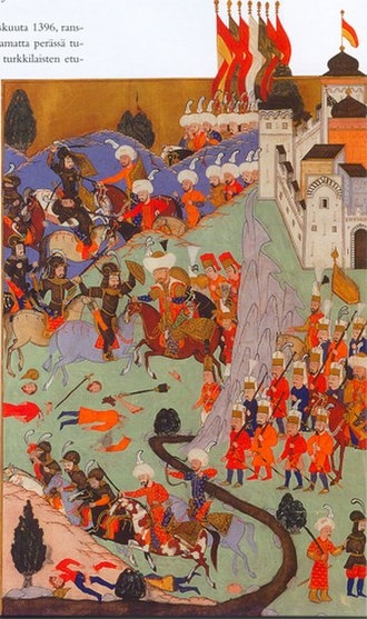 Bayezid I - The Battle of Nicopolis, as depicted by Turkish miniaturist in 1588.