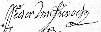 Peter Van Dievoet - Signature of the sculptor Peter Van Dievoet, 21 November 1722.