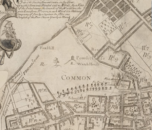 Winter Street (Boston) - Image: 1743 Boston Common map William Price