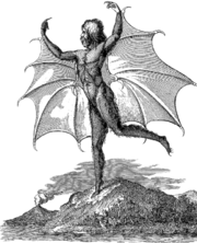 b&w drawing of a man with large bat-wings reaching from over his head to mid-thigh