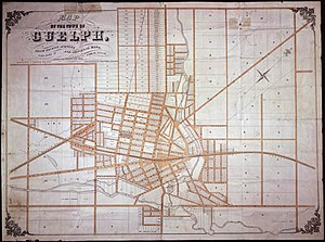 Guelph - An 1855 map of Guelph