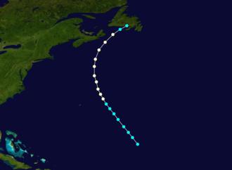 1874 Atlantic hurricane season - Image: 1874 Atlantic hurricane 2 track