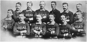 Spring training - 1885 Chicago White Stockings (known today as the Chicago Cubs) Top Row: George Gore, Silver Flint, Cap Anson, Jim McCormick, Mike 'King' Kelly, Fred Pfeffer; Bottom Row: Jimmy Ryan, Ned Williamson, Abner Dalrymple, Tom Burns, Jim Clarkson, Billy Sunday