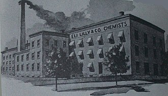 Eli Lilly - An 1886 drawing of Lilly's plant on McCarty Street.