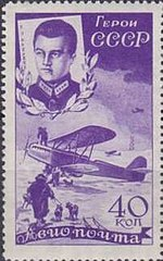 1935 CPA 494 Stamp of USSR Kamanin.jpg