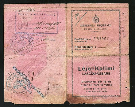 1940 Albanian Kingdom Laissez Passer issued for traveling to Fascist Italy after the invasion from the previous year. 1940 Albanian Kingdom Laissez Passer issued for traveling to Fascist Italy after the invasion from the previous year.jpg