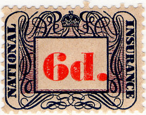 National Insurance - A British 1948 National Insurance stamp, once used to collect contributions to the scheme.