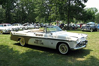 1956 Indianapolis 500 - Image: 1956 De Soto Fireflite Convertible Pace Car Top Down