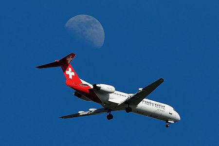 Helvetic Airways Fokker 100 HB-JVE approaching runway 14 at Zurich International Airport