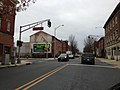 2014-12-20 15 05 04 A old traffic light painted green at the intersection of Perry Street and Stockton Street in front of the Trenton Fire Headquarters in Trenton, New Jersey.JPG