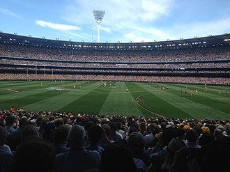 2015 AFL Grand Final - The ground moments before the first bounce. Hawthorn are in predominantly gold and West Coast are wearing predominantly blue.