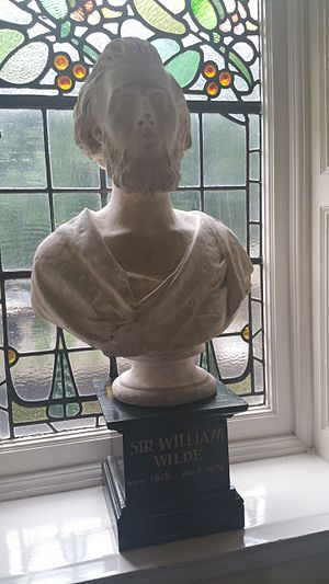 William Wilde - Photograph of a marble bust of William Wilde on the main staircase of the Royal Victoria Eye and Ear Hospital, Dublin, Ireland