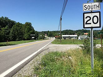 West Virginia Route 20 - View south along WV 20 in Rock Cave