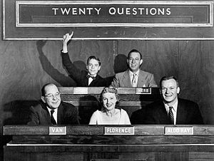 Twenty Questions - Photo from DuMont advertising the show, with 14 year-old Dick Harrison, Herb Polesie, Fred Van Deventer, Florence Rinard, and actor Aldo Ray as guest panelist (February 1, 1954)