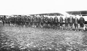 213th Aero Squadron - Men and aircraft of the 213th Aero Squadron,  Foucaucourt Aerodrome, France, November 1918.