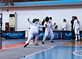 2nd Leonidas Pirgos Fencing Tournament. Lunge by Nikoletta Chatzisarantou, 4th parry by Anna Panagiotakopoulou.jpg