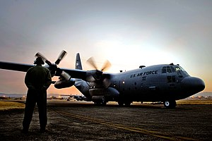 36th Airlift Squadron - A Lockheed C-130 Hercules of the 36th Airlift Squadron at engine start up