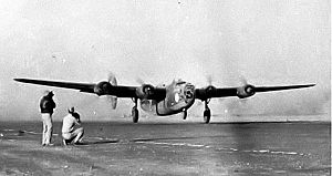 United States Air Forces Central Command - B-24 Liberator of the 376th Bomb Group taking off from a Libyan base, 1943
