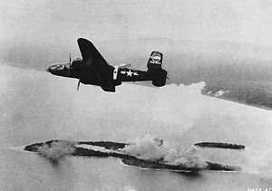 345th Bombardment Wing - 345th Bombardment Group B-25 Mitchell over Wakde Island