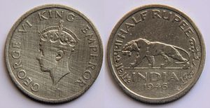 India Government Mint, Mumbai - Image: 50 Indian Paise (1946)
