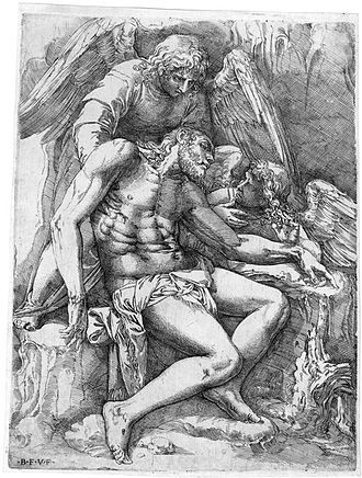 Battista Franco Veneziano - The dead Christ supported by angels. Etching, 26,3 x 20,4 cm