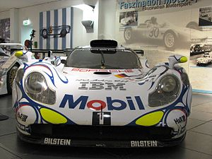Porsche 911 GT1 - The front end of a 911 GT1-98, showing the headlights inspired by the 996-generation 911.