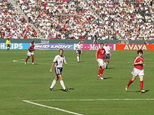 Hamm during the third-place match against Canada at the 2003 FIFA Women's World Cup