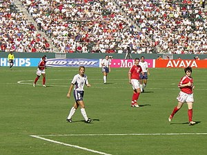 Mia Hamm - Hamm during the third-place match against Canada at the 2003 FIFA Women's World Cup