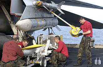 AIM-54C Phoenix missle on a F-14D of VF-2 aboard USS Constellation (CV-64) on 20 March 2003 (030320-N-4142G-013).jpg