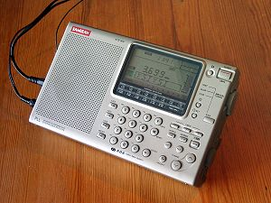 Shortwave listening - A Sangean ATS-909 world band receiver.