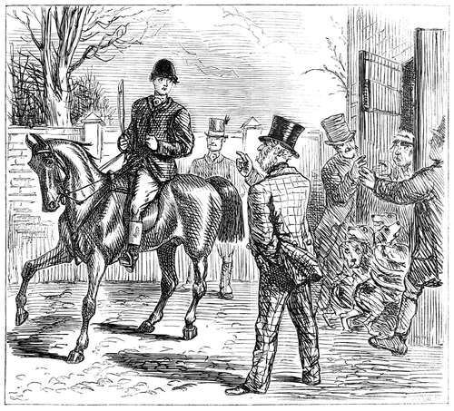 alt = A hunter on horseback is confronted by an angry man on foot, the owner of the land he is trespassing on, while behind him the squire's men lock into the stable the man who has been laying the drag trail