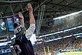 A Patriots fan celebrates a touchdown at the Super Bowl LII, Minneapolis MN (25247477997).jpg