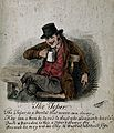 A drunkard wearing a hat, seated, drinking. Watercolour and Wellcome V0018771.jpg