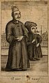 A dwarf and a mute, with Turkish buildings in the background Wellcome V0007429.jpg