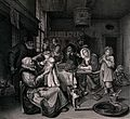 A family group gathered around a fireside table singing and Wellcome V0038701.jpg