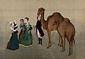 A family inspecting two camels Wellcome V0047042.jpg