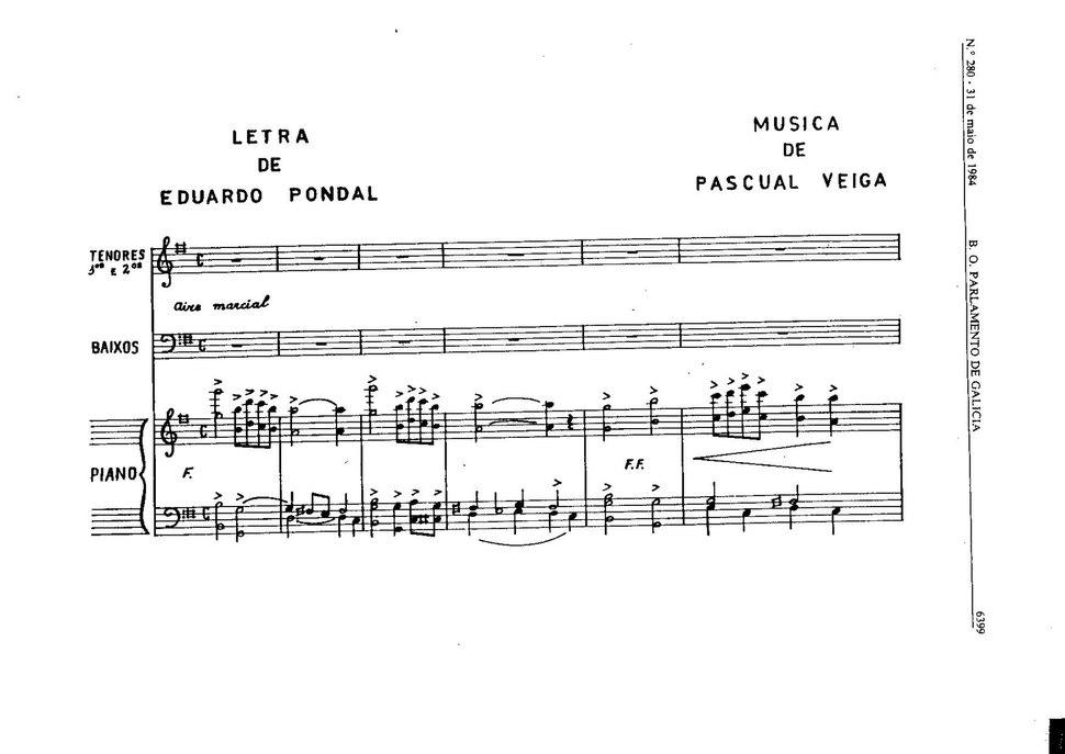 A partitura oficial do himno de Galicia, composta por Pascual Veiga, é a seguinte.pdf