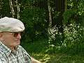 A photo of an old retired Dutch farmer - cycling through the fields of Midden-Drenthe, Netherlands, April 2012.jpg