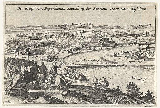 Aanval van de graaf van Pappenheim op het Staatse leger bij Maastricht, 1632 Des Graef van Papenheims aenval op der Staaten leger voor Mastricht (titel op object), RP-P-OB-81.338