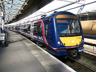 Aberdeen railway station - A ScotRail service at Aberdeen, formed of a Class 170 Turbostar unit