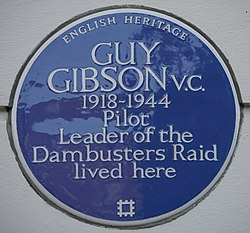 Photo of Guy Gibson blue plaque